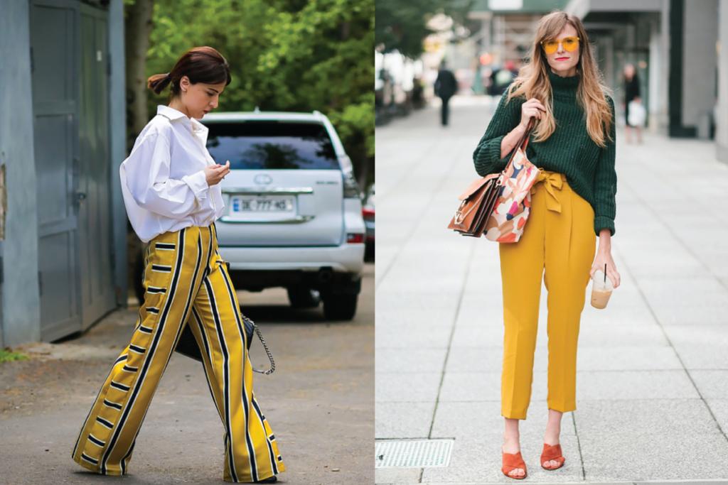 แฟชั่นการใส่กางเกงสีเหลืองพาสเทลกับเสื้อสีขาว