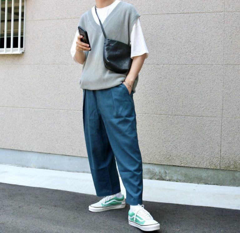 กางเกงสีฟ้าอมเขียว