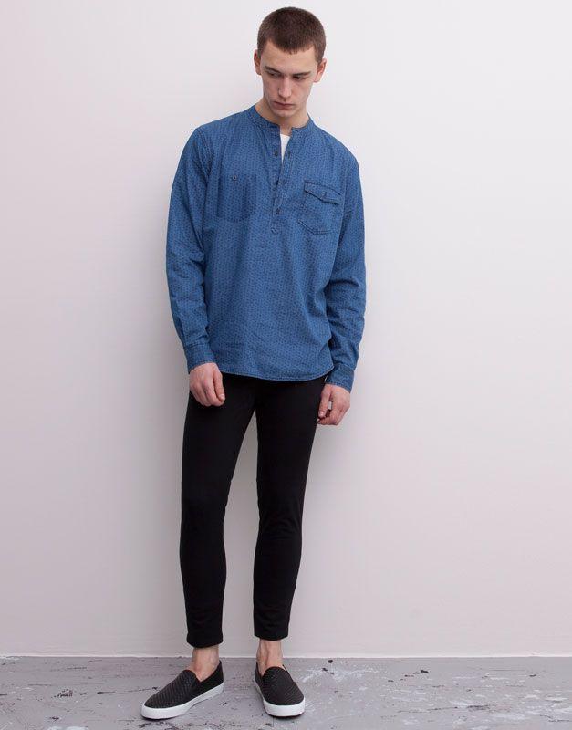 เสื้อเชิ้ตคอจีน x กางเกงขาสั้น