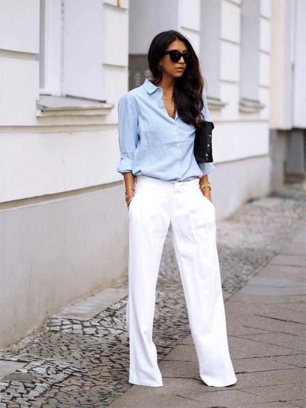 แฟชั่นกางเกงขายาวสีขาว -กางเกงขายาวสีขาวกับเสื้อเชิ้ต2