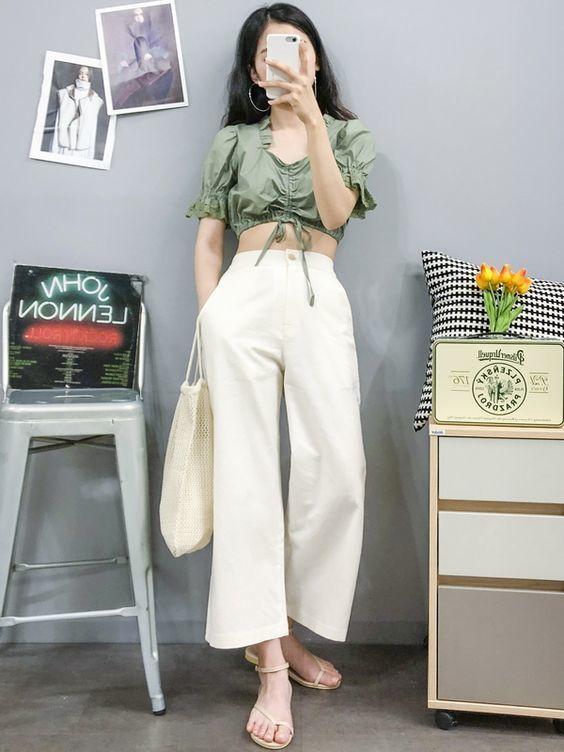 แฟชั่นกางเกงขายาวสีขาว1
