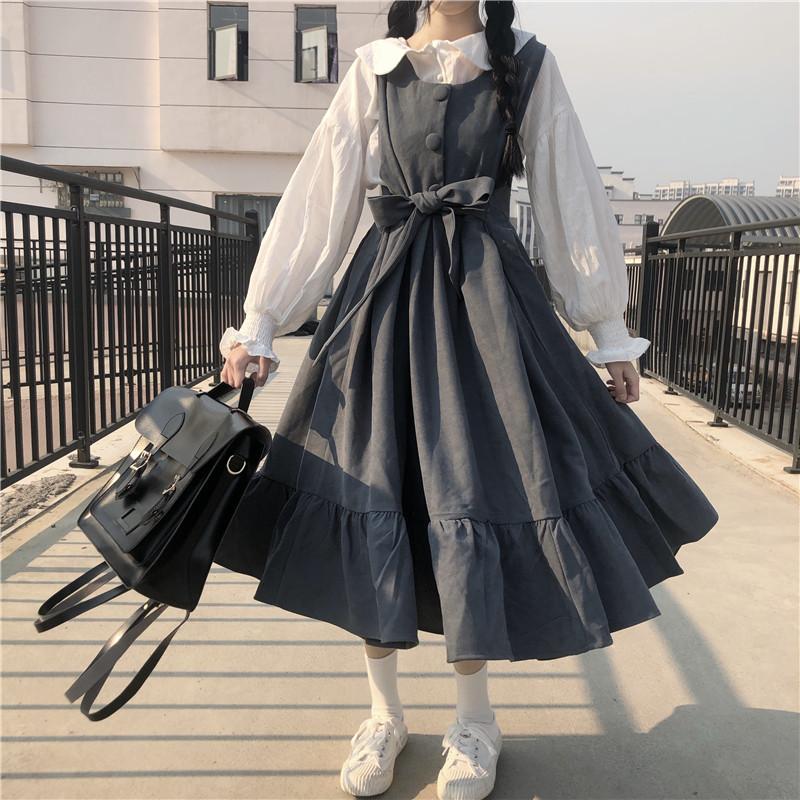 ชุดนักเรียนญี่ปุ่น ชุดเอี๊ยมกระโปรงยาว เสื้อเชิ้ตแขนยาวสีขา