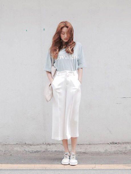 แฟชั่นกางเกงขายาวสีขาว- กางเกงขายาวสีข้าวห้าส่วน